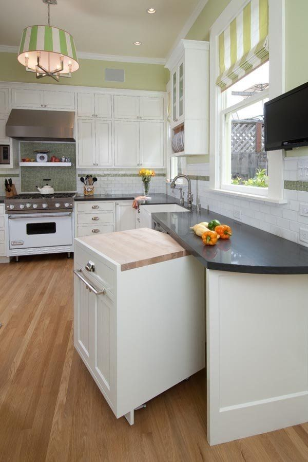Kitchen Remodel Ideas For Small Kitchens Instead Of Typical Cabinets, Build A Pull-Out Cabinet For Instant Counter Space
