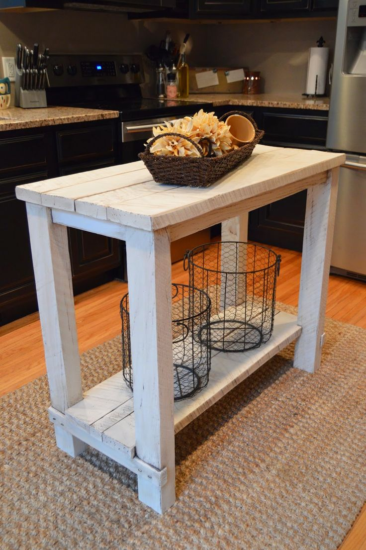 Rustic Reclaimed Wood Island Perfect For Small Kitchen Furniture
