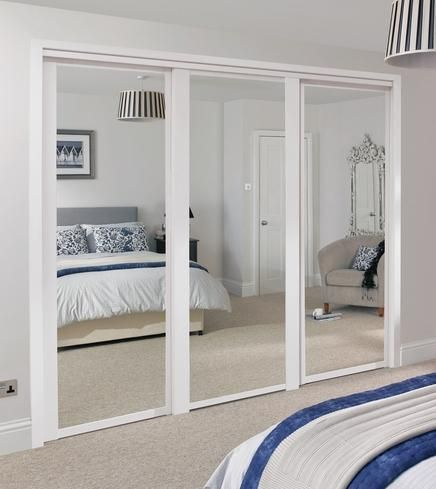Shaker Panel And White Sliding Mirror Wardrobe Doors