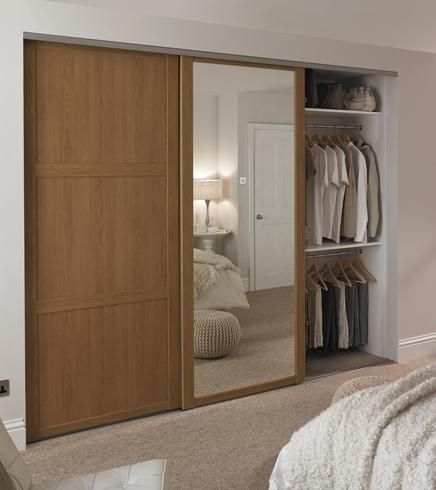 Shaker Panel Sliding Mirror Wardrobe Oak Bedroom Funriture