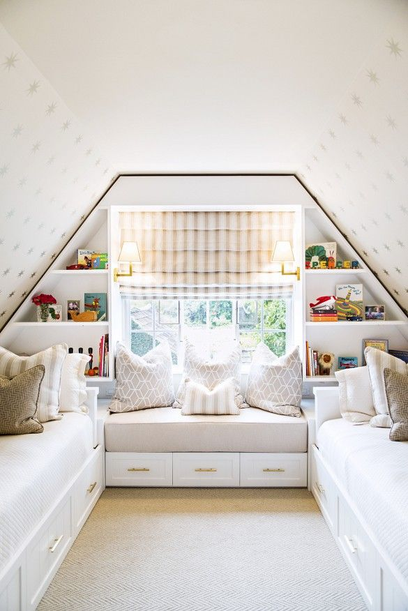 Small Attic Bedroom Design Ideas Bright Attic Bedroom With Built-In Shelves, And Neutral Color Palettes