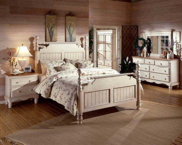 Antique white country style bedroom ideas small room for White country bedroom