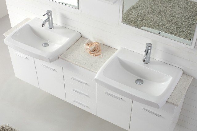 Contemporary Small Double Sink Bathroom Vanity