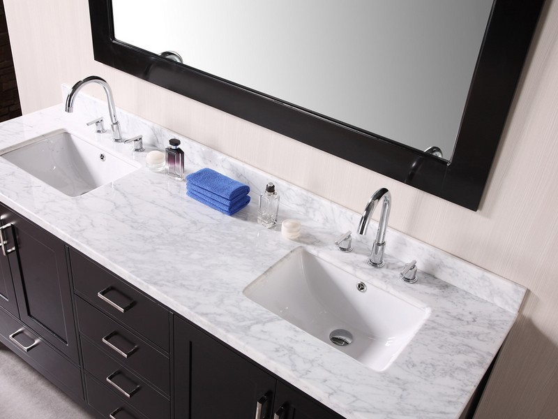 Modern Small Double Sink Vanity With Mirror And Espresso Design Small Room