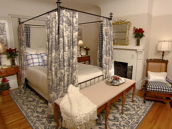 French Country Style Bedroom Guest Room With Canopy Bed