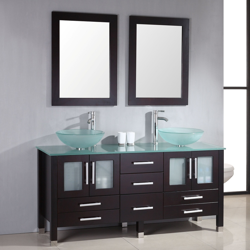 Glass Double Sink Vanity For Small Bahtroom