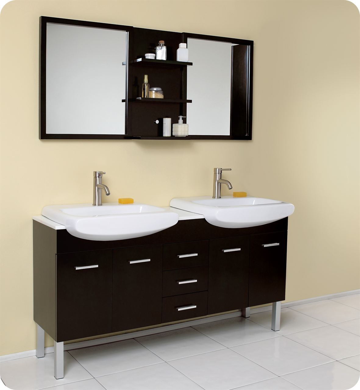 Modern Small Double Sink Vanity With Mirror And Espresso Design