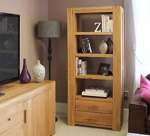 Open oak Bookcase with Drawers