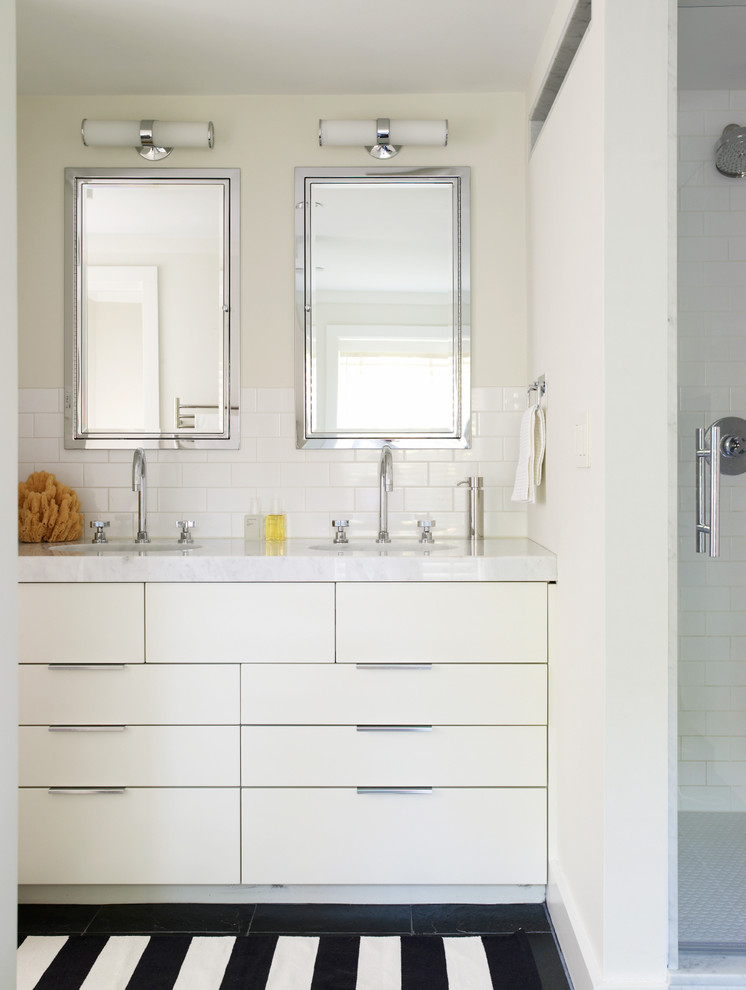 Small Bathroom Vanity Double Sinks White