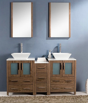 Small Double Sink Bathroom Vanities With Side Cabinet And Vessel Sinks