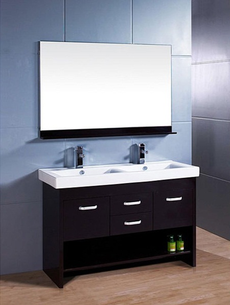 Small Double Sink Vanity Espresso With Mirror