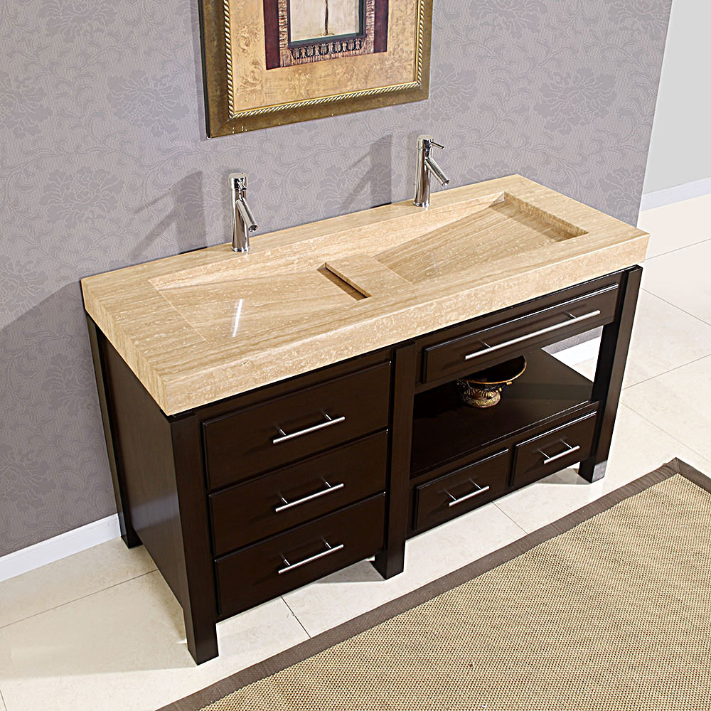 Small Double Trough Sink Bathroom Vanity