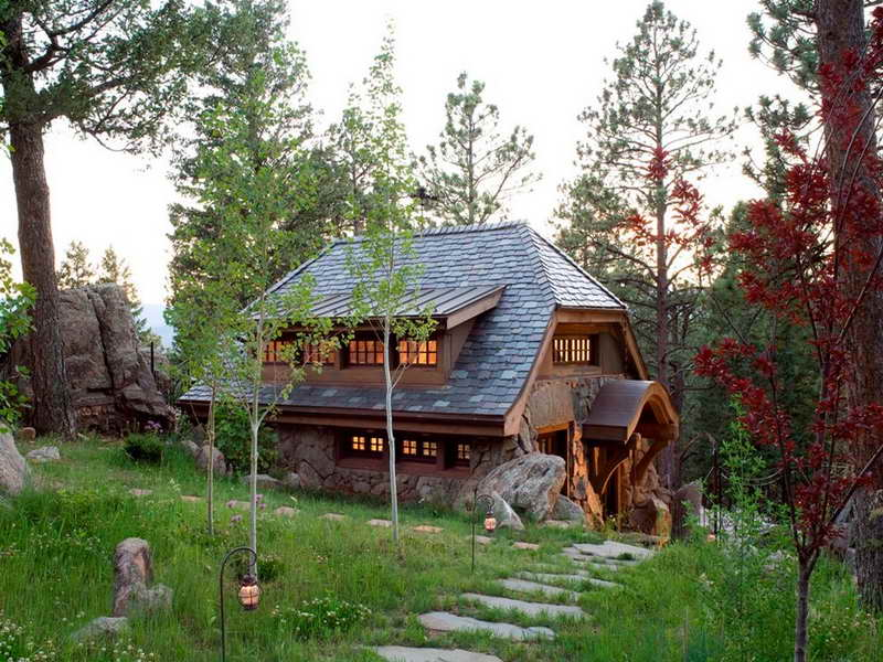 Small Rustic Cabin Plans With Stone Path
