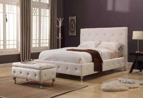 White Bedroom Ideas With Tufted Design Leather Upholstered Platform