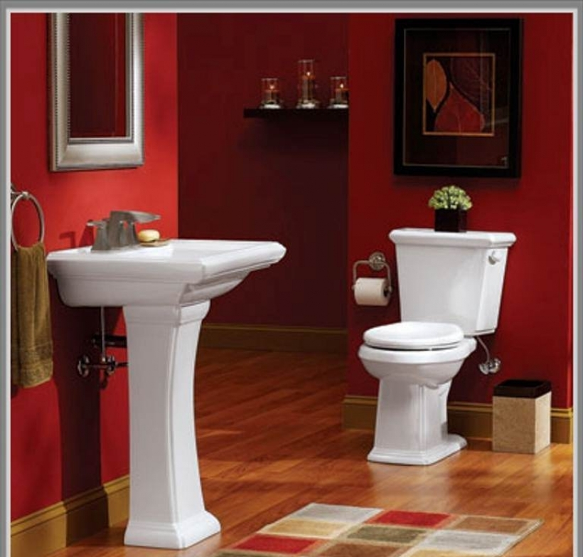 Delightful Small Bathroom Paint Color Ideas Throughout Red Painting Color For Amazing Bathroom Design  Pics