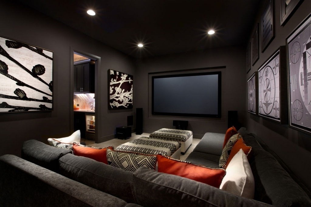 Incredible Small Media Room Ideas Fantastic Small Media Room Ideas With Black Leather Seats On