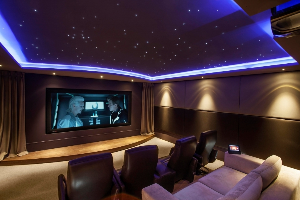 Fantastic Small Media Room Ideas With Black Leather Seats On Khaki Carpet And Blue Starscape Ceiling
