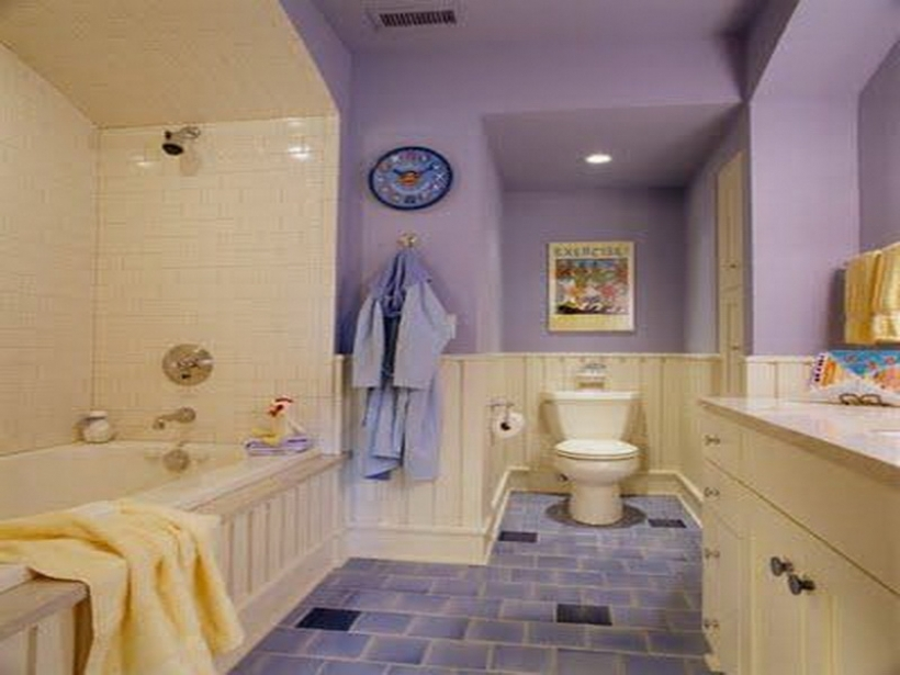Excellent small bathroom paint color ideas throughout wall for Purple and yellow bathroom ideas