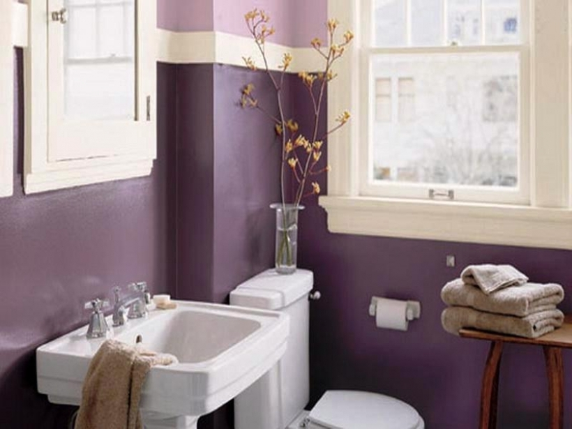 Inspiring Small Bathroom Paint Color Ideas With With Wood Stool Picture Sma