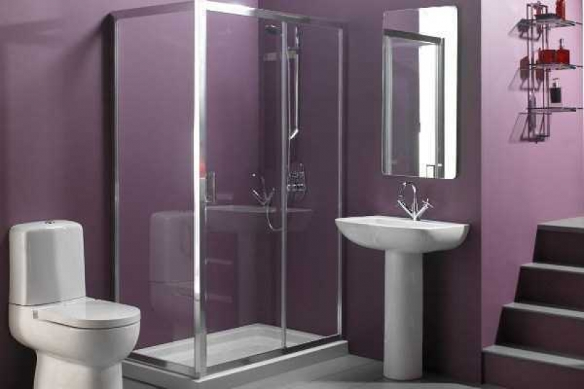 Wonderful Small Bathroom Paint Color Ideas Within Tiny Bathroom Layout Design Purple Bathroom Images