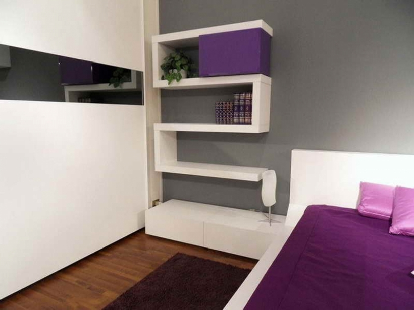Small Bedroom Paint Color Beautiful Design With Gray, Purple, And White