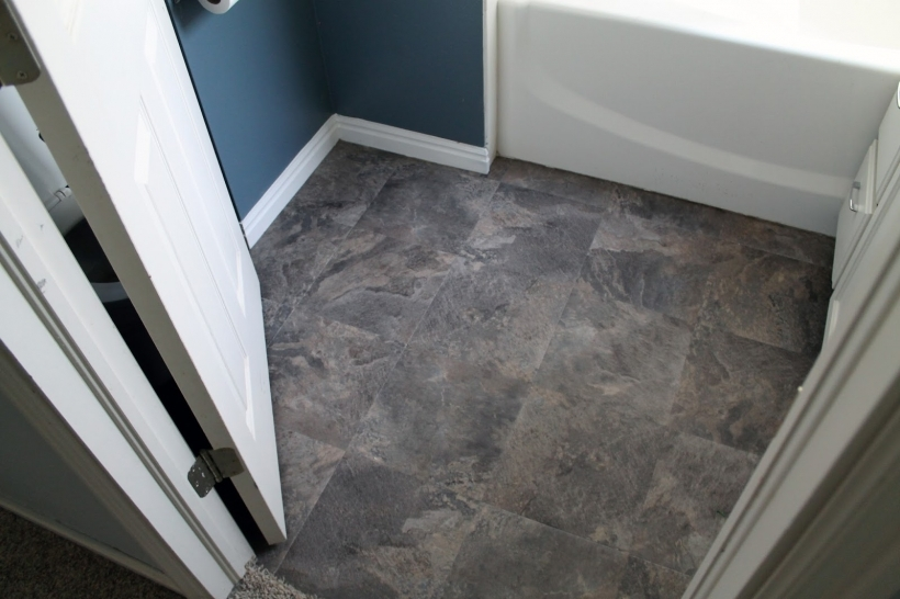 Bathrooms With Outstanding Dark Grey Limestone Peel Stick Vinyl Tile