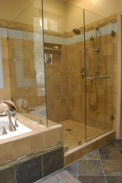 Bathroom Wall Tile Ideas With Glass Tile Accent Custom Walk In Tile Shower