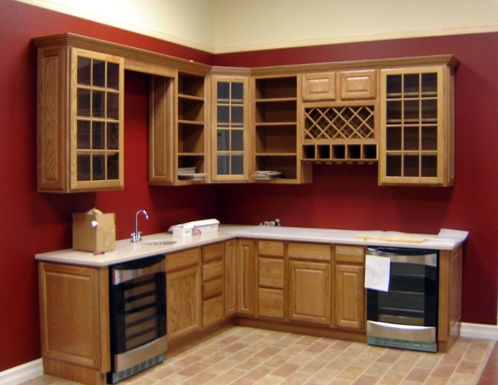 Kitchen Cupboard Designs For Small Kitchens Within Fantastic Red Kitchen Wall Painted Woodframe 0404