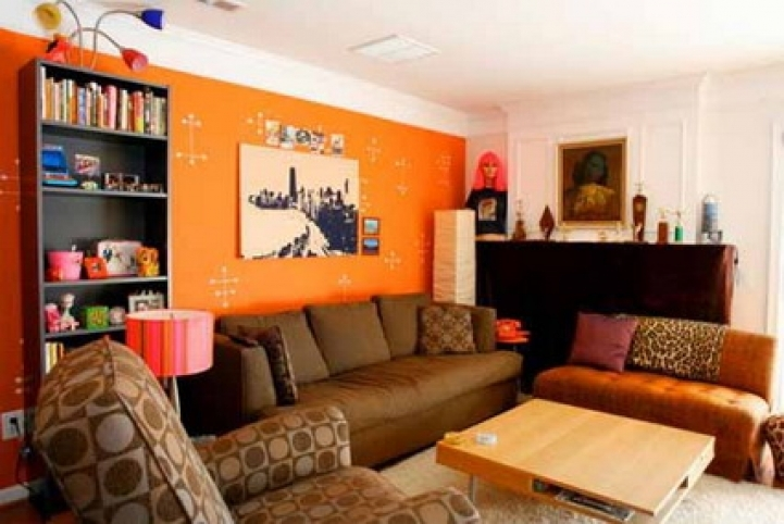 Paint Color Ideas For Small Living Room With Delightful Abstract Orange Wall And Corner Brown Sofa Furniture 7691