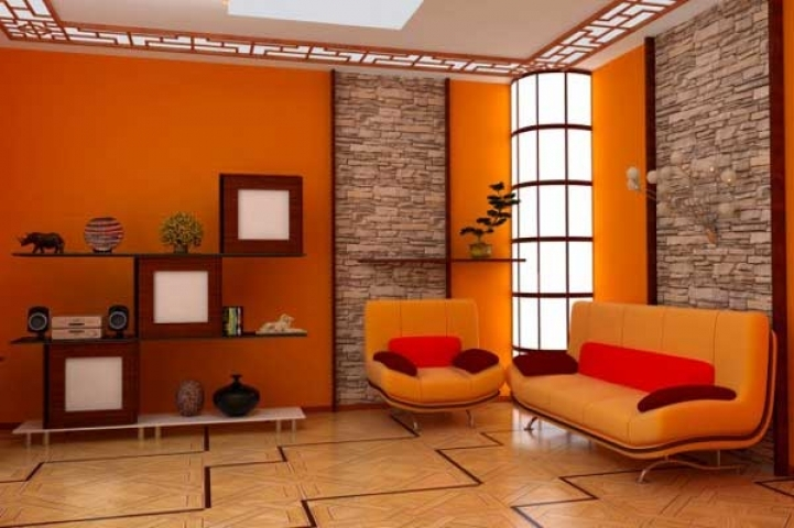 paint color ideas for small living room with great orange color scheme