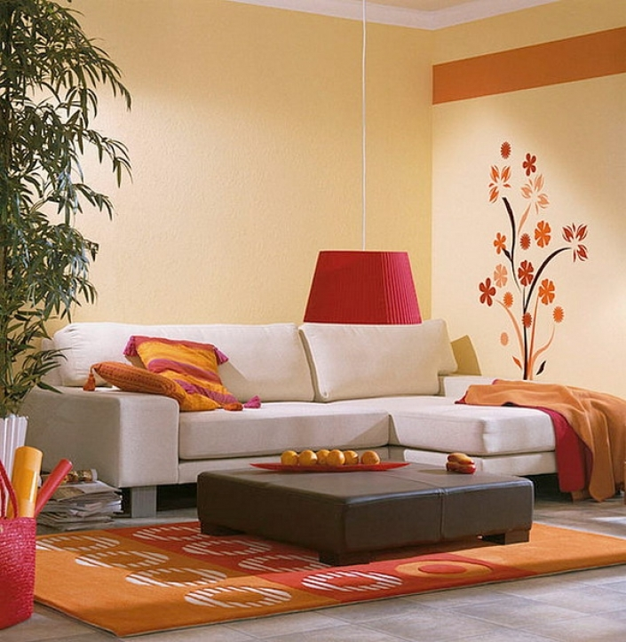 Paint Color Ideas For Small Living Room With Inspiring Sectional Sofa And Rug Area Then Flower Wall Paint Also Orange Carpet Pattern  3209