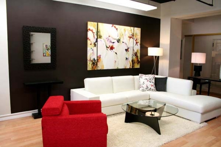 Paint Color Ideas For Small Living Room Within Classy Red And White Couch And Round Glass Coffee Table 6069