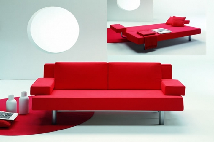 Red Sectional Sofa Bed For Small Spaces Within Cosy Modern Metal Frame Sofa Beds For Small Bedrooms 5186