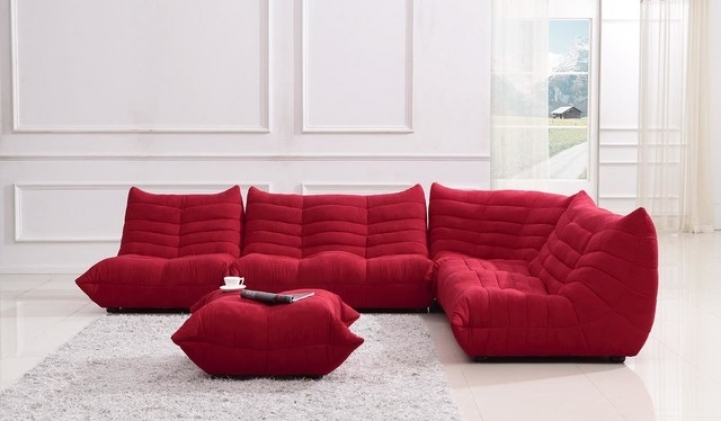 Red Sectional Sofa Bed For Small Spaces Within Stunning And Comfortable Contemporary Bloom Red Microfiber Fabric Ultra 1998