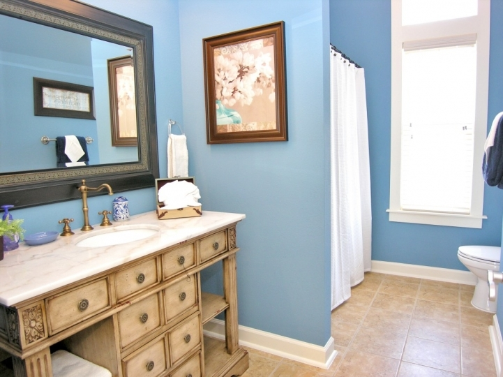 Small Bathroom Paint Colors With Fascinating Blue Basic And White Color 7599