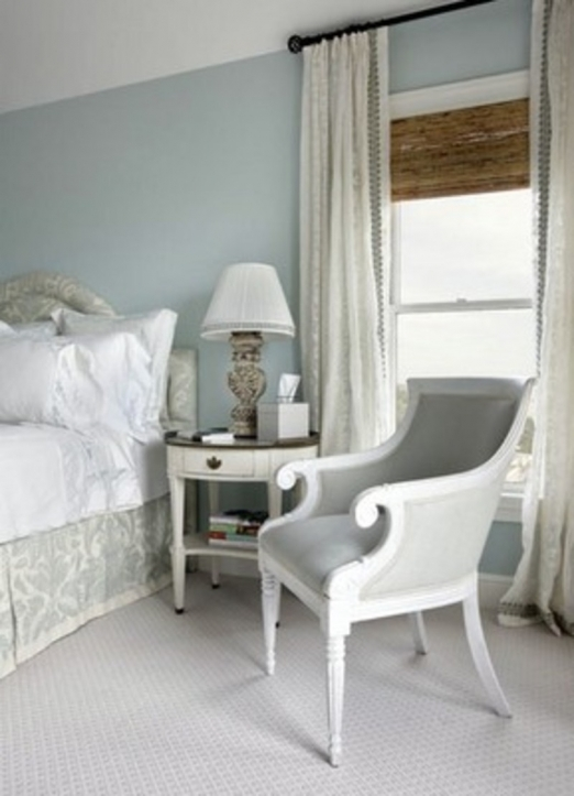 Small Guest Room Ideas With Charming White Solid Wood Wing Chair And End Table Design 3411
