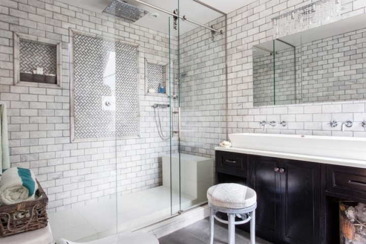 Subway Tile For Small Bathroom Remodeling Gray Subway Glass Tile Enclosed Shower Bathroom Design 0226