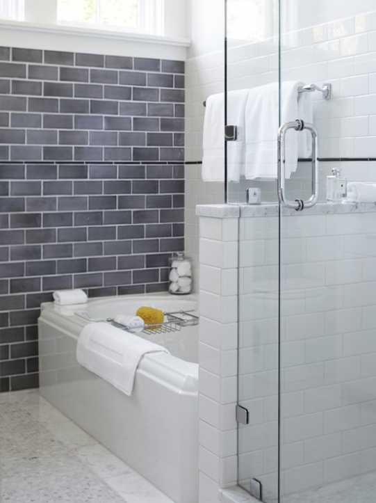 Subway tile for small bathroom remodeling gray subway tile for Bathroom ideas using subway tile
