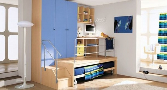 Cupboard Designs For Small Rooms Inside Excellent Blue Wooden Wardrobe And Natural Wooden Sliding Bed 7229