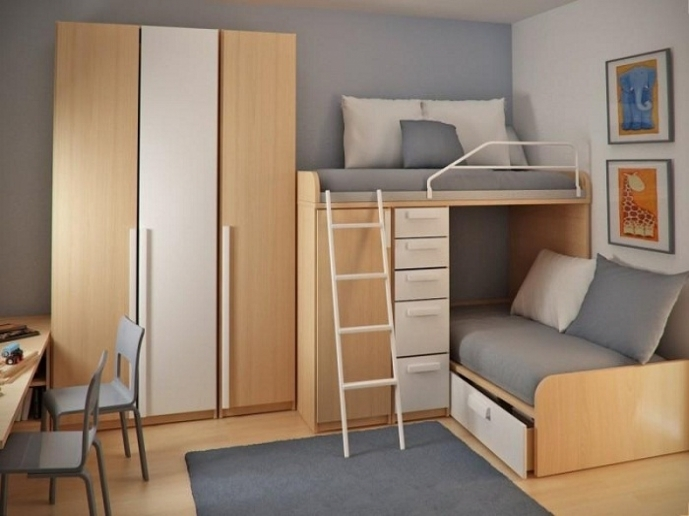 Cupboard Designs For Small Rooms With Charming Compact Furniture With Smart Wooden Bunk Bed 4434