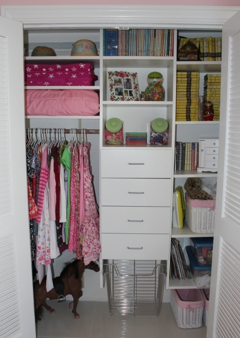 Small Closet With Freestanding White Glaze Wooden Closet Organizers Storage Ideas With 4 Drawers And Shelves Image