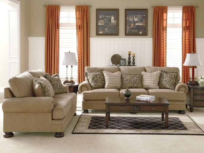 Ashley Furniture Room Ideas OVERSIZED CHENILLE SOFA COUCH SET 10