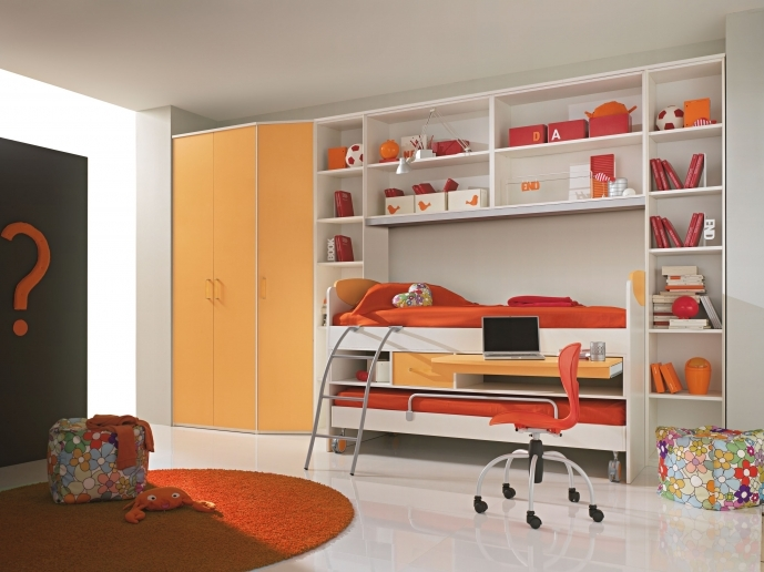 Built In Bedroom Furniture For Small Rooms Regarding Cozy White Wooden Frame Teenage Bunk Bed Ideas Curved Gray Polished Ladder 43