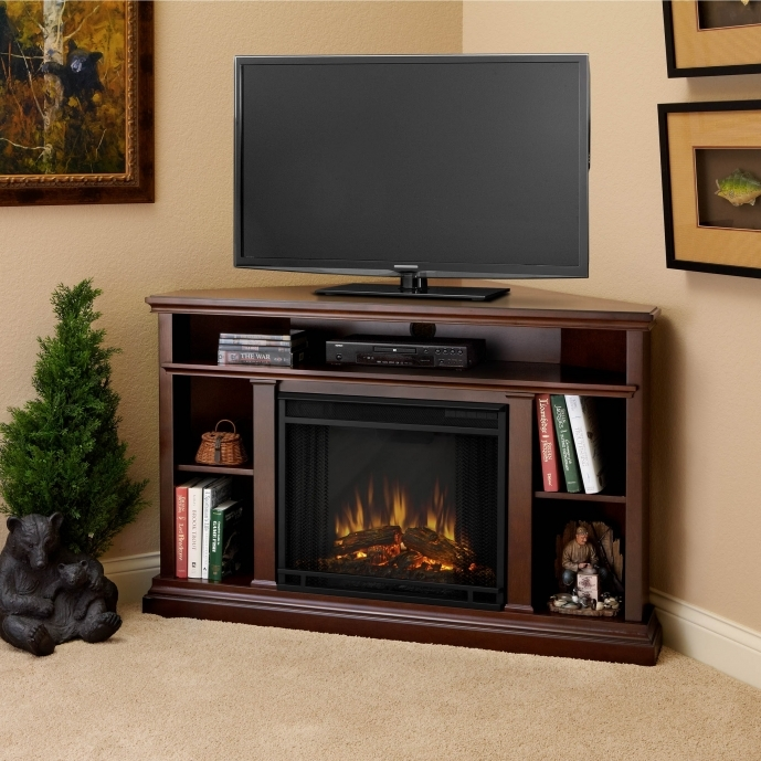 Small Corner Electric Fireplace Tv Stand Brown Ideas Picture 20