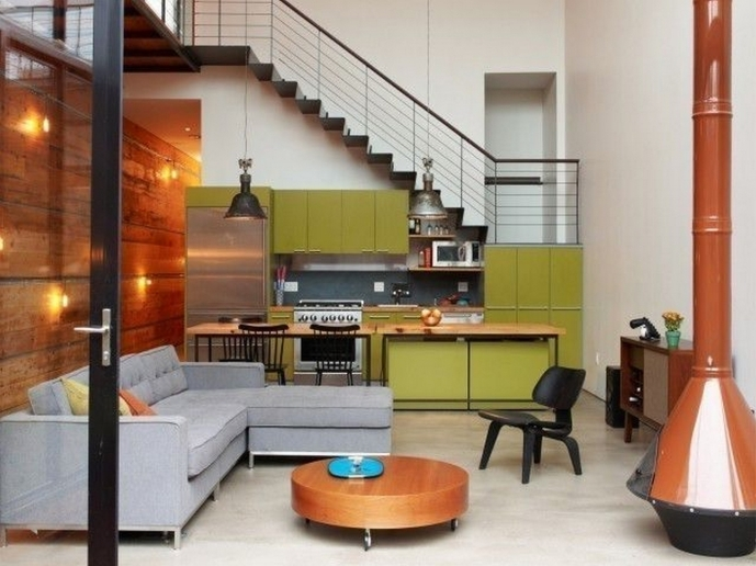 Decorating Ideas For A Small Living Room With Kitchen Combo And Green Cabinet Also Metal Staircase Design 91