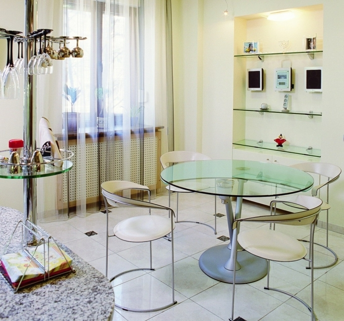 Small Dining Room Decorating Ideas Modern Decoration With Rounded Glass Table Pic 76
