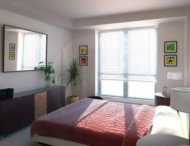 best colors for small bedroom layout with red bedding and black dresser also double glass window Picture 19