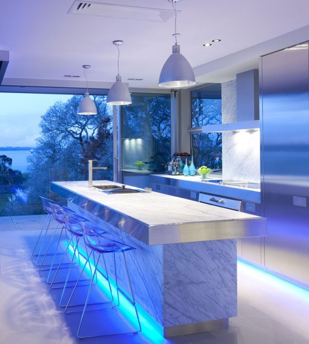 blue kitchen led lighting ideas 8251