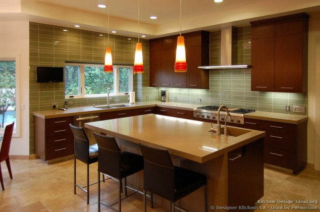 kitchen cabinet led lighting ideas modern dark wood cherry island chairs pendant glass backsplash