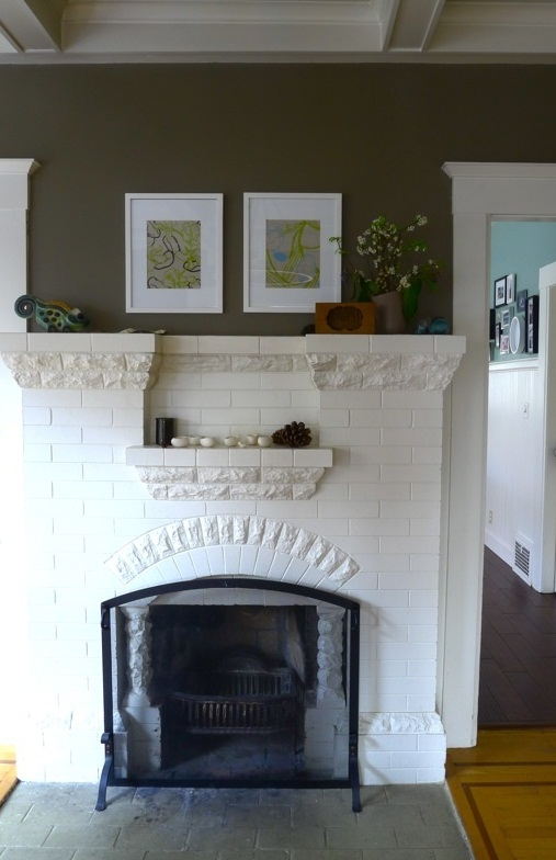 painting a brick fireplace white photos 12